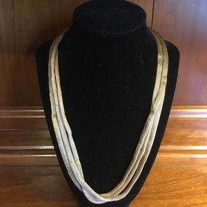Golden Colored Three Rope Necklace